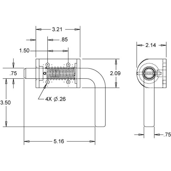 """B2596SS 3/4"""" Stainless Steel Spring Latch Draw"""