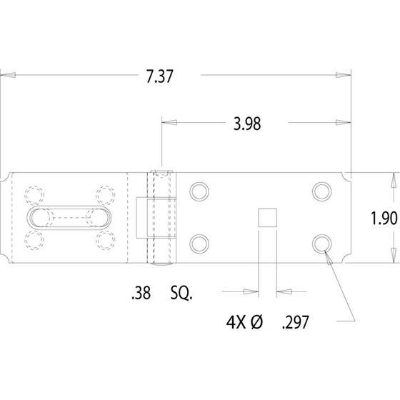 SH40 Zinc Heavy Duty Security Hasp Drawing