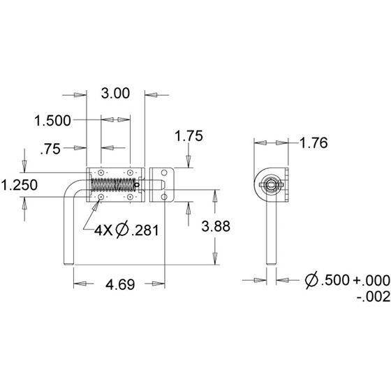 "B2595LKB Zinc 1/2"" Spring Latch With Keeper Drawing"