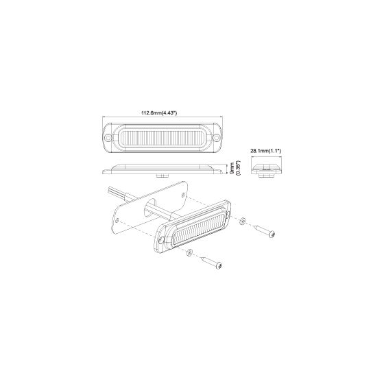 8891911 Vertical Low Pro Red LED Strobe Drawing