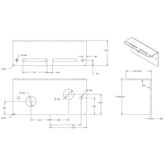 """8891007 Mounting Bracket Drawing. It is a drawing of a piece of metal in the shape of an """"L""""."""