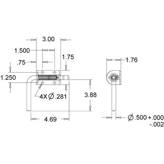 B2595 Zinc Spring Latch Assembly Drawing